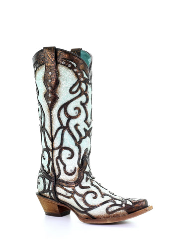 Corral Women's Red Leather Deer Skull Floral Embroidery Boots A3712