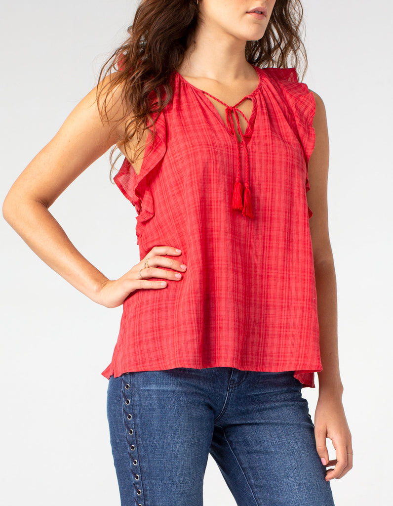 red blouse perfect for a nice summer day