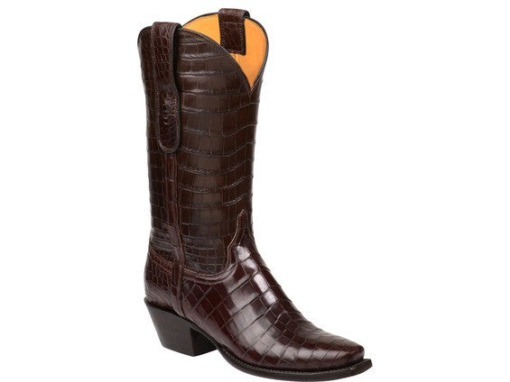 Lucchese Women's Romia Nile Crocodile Boot BL8004 - Chocolate