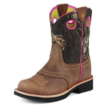 Ariat Kid's Fatbaby Cowgirl Boots in Rough Brown - Saratoga Saddlery