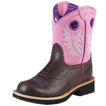 Ariat Kid's Fatbaby Cowgirl Boots in Roughed Chocolate - Saratoga Saddlery