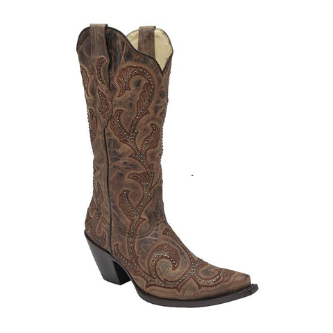 Corral Women's Tan Glitter Inlay Floral Embroidery Boots A3670