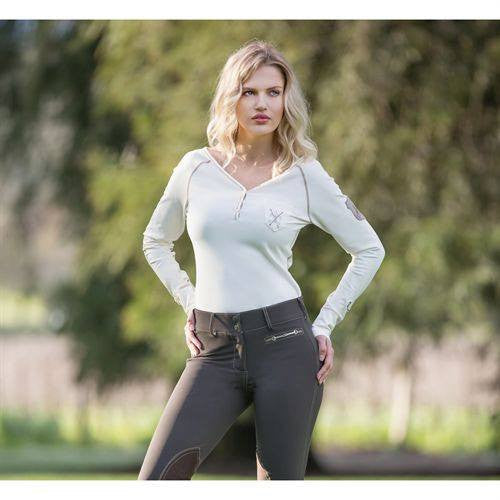 Goode Rider V-Neck Henley in Winter White - Saratoga Saddlery