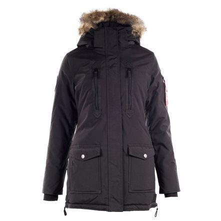 Horze Supreme Brooke Women's Long Parka Jacket in Black - Saratoga Saddlery