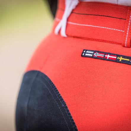 Horze Supreme Grand Prix Women's Full Seat Breeches Red/Navy - Saratoga Saddlery