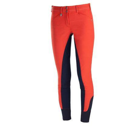 Horze Supreme Grand Prix Women's Self-patch Breeches Red/Navy - Saratoga Saddlery