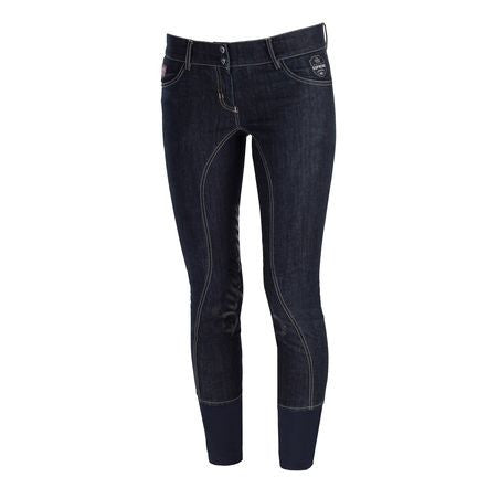 Horze Supreme Jenna Women's Denim Self-patch Breeches - Saratoga Saddlery