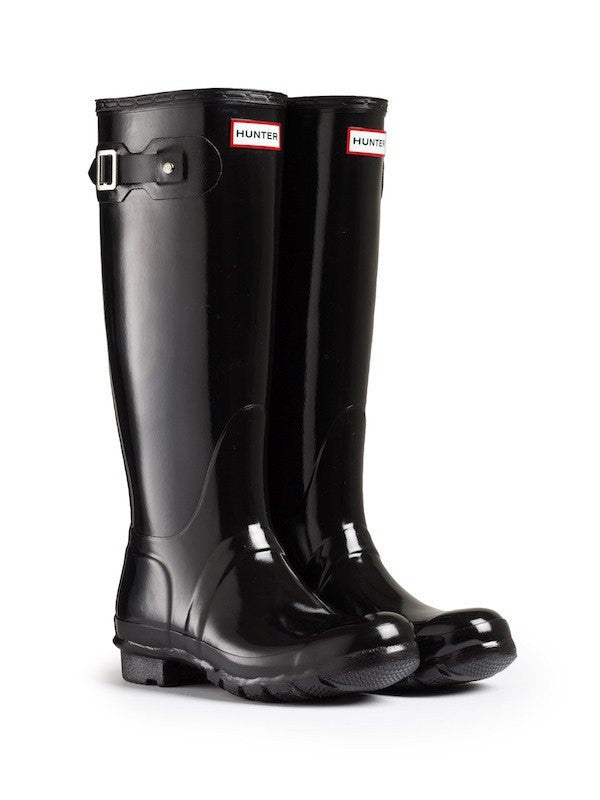 Hunter Original Tall Gloss Rain Boots, Black - Saratoga Saddlery