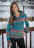 Icelandic Design Peppa Zip Cardigan in Teal - Saratoga Saddlery & International Boutiques