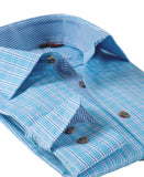 James Tattersall 6603 Men's Williamsburg Dress Shirt in Teal - Saratoga Saddlery