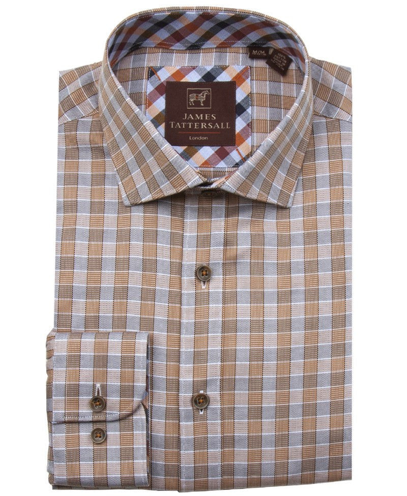James Tattersall Padstow Sport Shirt in Orange - Saratoga Saddlery