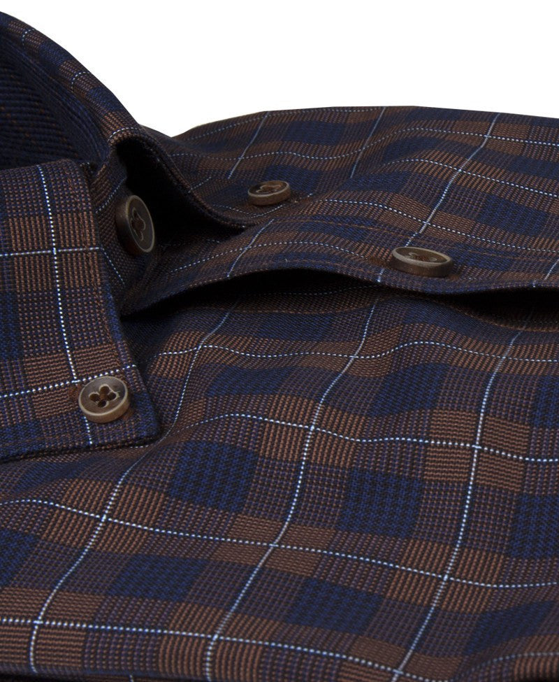 James Tattersall Romsey Sport Shirt in Brown - Saratoga Saddlery & International Boutiques