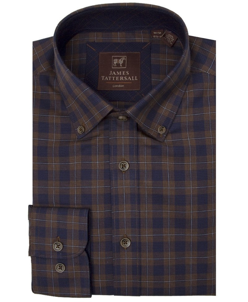 James Tattersall Romsey Sport Shirt in Brown - Saratoga Saddlery