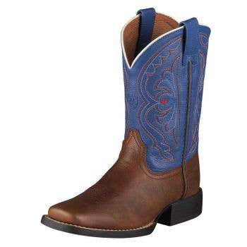 Ariat Kid's Quickdraw Boots Brown Oiled Rowdy - Saratoga Saddlery