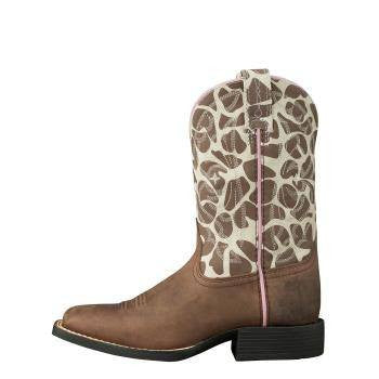 Ariat Kid's Quickdraw Boots Brown Pull Up - Saratoga Saddlery