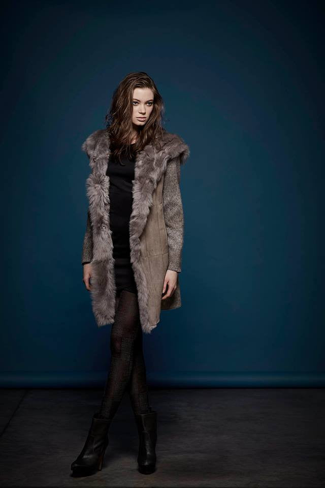 Gimo's 5N350 Women's Shearling and Fur Jacket in Grey - ON SALE!