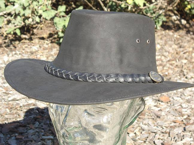 Black Kangaroo Leather Hat Outback Survival Gear-Saratoga Saddlery