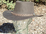 Kangaroo Leather Hat - Dark Brown Outback Survival gear - Saratoga Saddlery