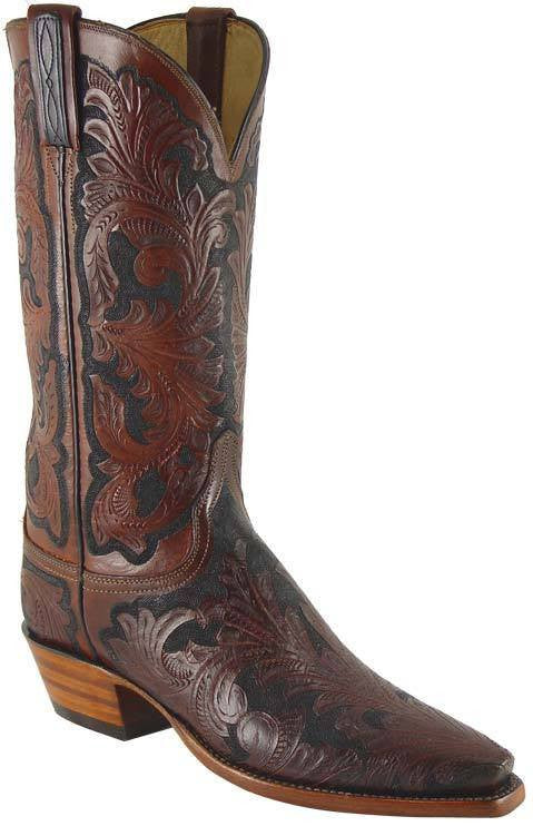 Lucchese Mahogany Floral Stained L4614 - Saratoga Saddlery