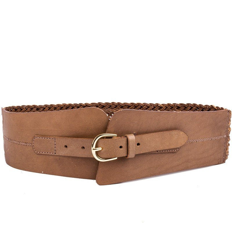 Linea Pelle Wide Braided Waist Belt Cognac - Saratoga Saddlery
