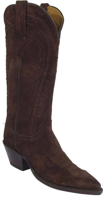 Lucchese Chocolate Cashmere Suede L4574 - Saratoga Saddlery