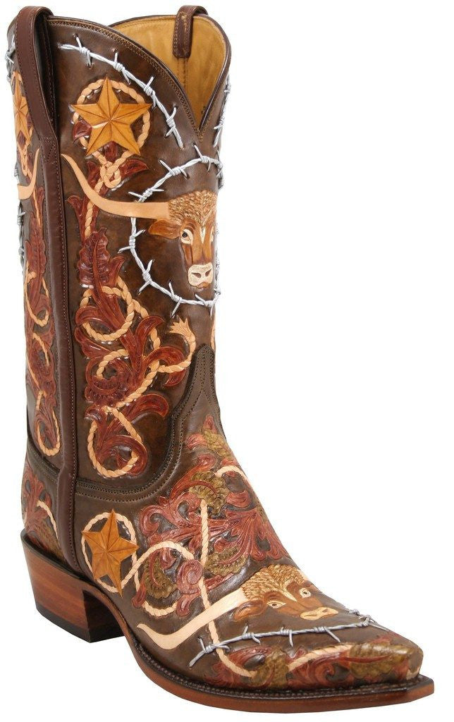 Lucchese Men's Classic L1358 Hand Tooled Barbwire Boot - Saratoga Saddlery
