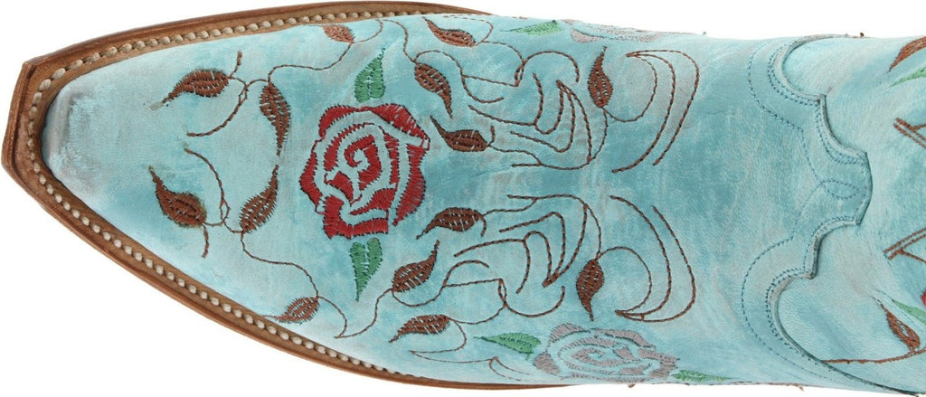 Lucchese Classics Womens Destroyed Robin's Egg Blue Goat Boots L4685
