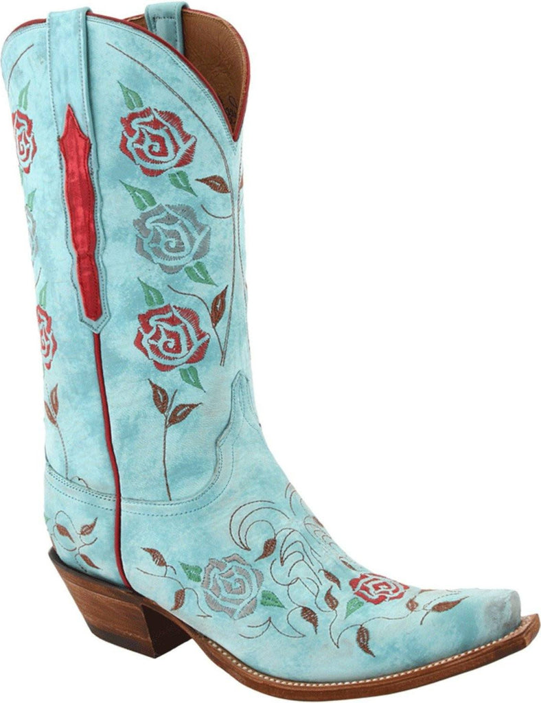 Lucchese Classics Womens Destroyed Robin's Egg Blue Goat Boots L4685 - Saratoga Saddlery