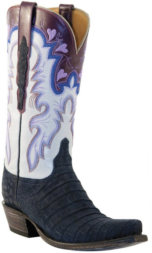 Lucchese Suede Caiman Boots L4147 - Saratoga Saddlery
