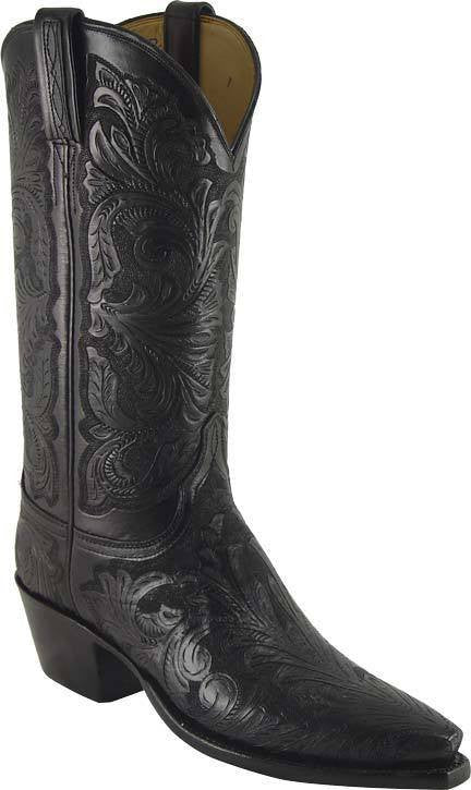 Lucchese Black Floral Hand Tooled Boots L4613 - Saratoga Saddlery