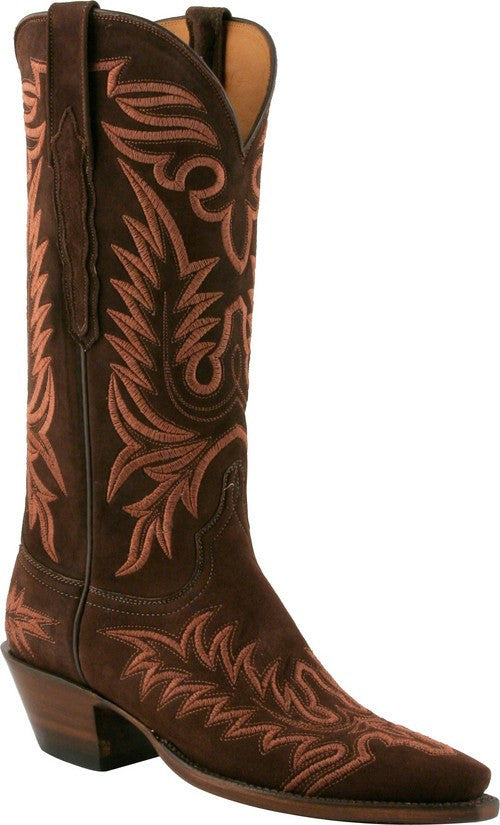 Lucchese Chocolate Cashmere Suede L4668 - Saratoga Saddlery