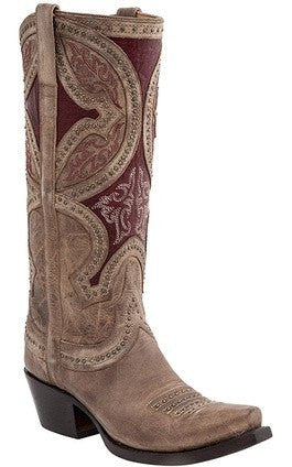 Lucchese Women's Leila Sahara Desert Boot M4861 - Red/Nude - Saratoga Saddlery & International Boutiques