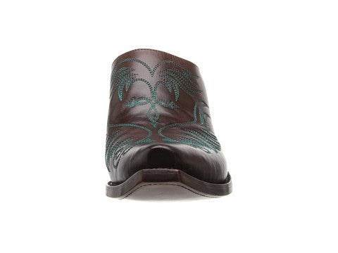 Lucchese Women's Burgundy with Teal Wing Stitch Western Mule M4877 - LAST PAIR FINAL SALE - Saratoga Saddlery & International Boutiques