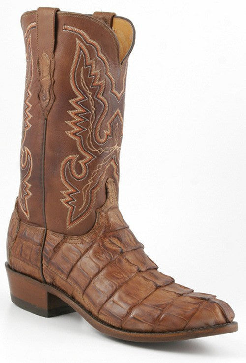 Lucchese Carver Tan Burnished Ranch Hand Hornback Giant Tail N1107 - Saratoga Saddlery