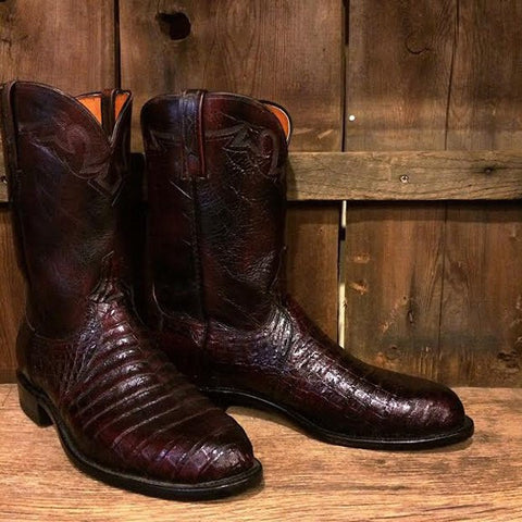 Lucchese Men's Carson Calf Leather Boot in Black Cherry M1021