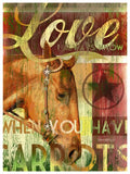 My Town Art Lithograph 12 x 16 - HORSE LOVE - Red