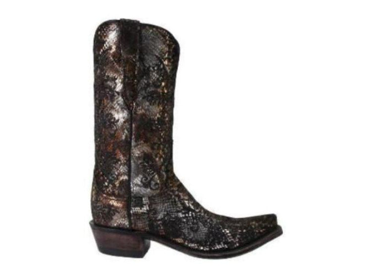 Lucchese 1883 Women's Black and Gold Precious Metals Sueded Python Boot N4716