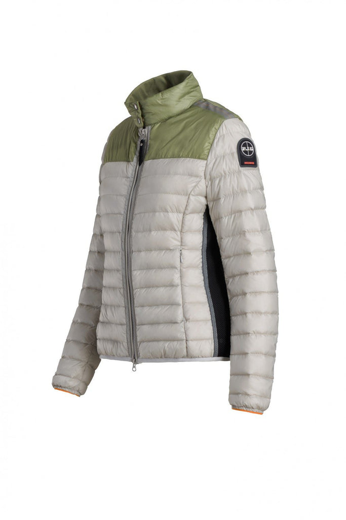 Parajumpers Women's Kochi Down Jacket in Silver & Kiwi 40% OFF ON SALE! - Saratoga Saddlery & International Boutiques