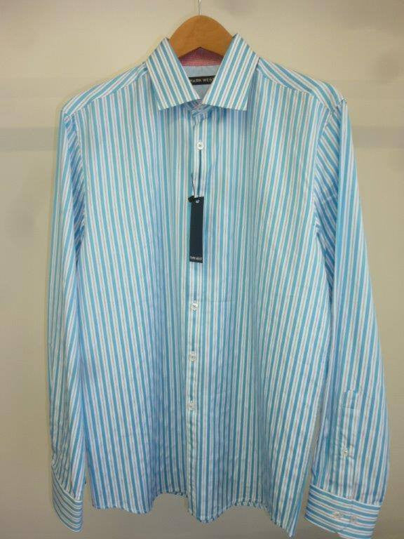 Park West 5509 Men's Teal Straddler Satin Stripe Dress Shirt - Saratoga Saddlery