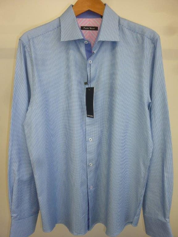 Park West 5535 Men's Blue Viceroy Houndstooth Dress Shirt - Saratoga Saddlery