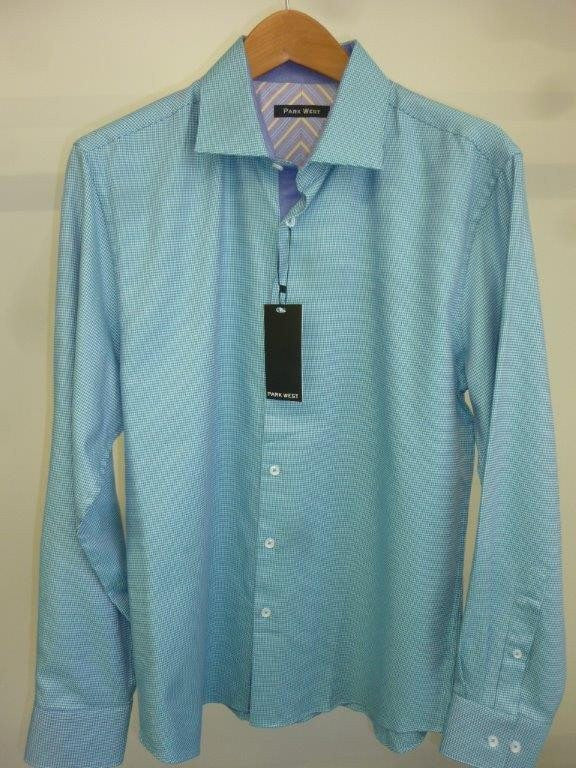 Park West 5535 Men's Teal Viceroy Houndstooth Dress Shirt - Saratoga Saddlery