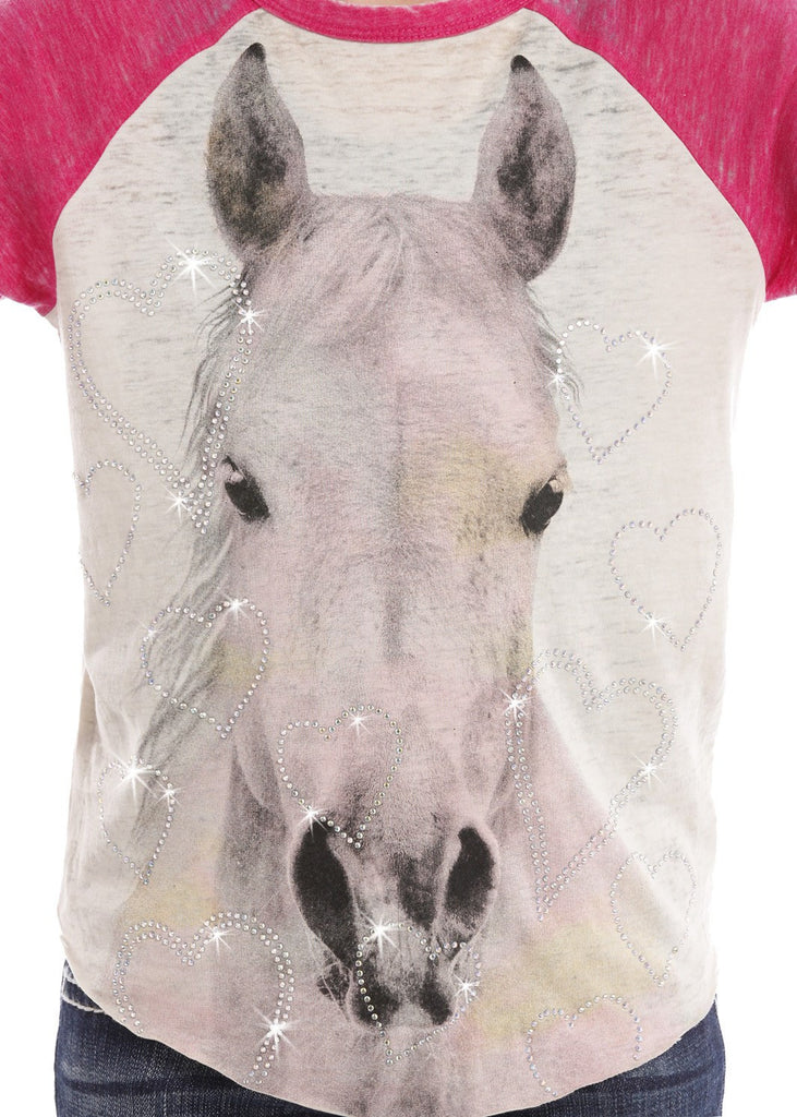 Rock & Roll Cowgirl Girls' Baseball Tee with Watercolor Horse - Saratoga Saddlery