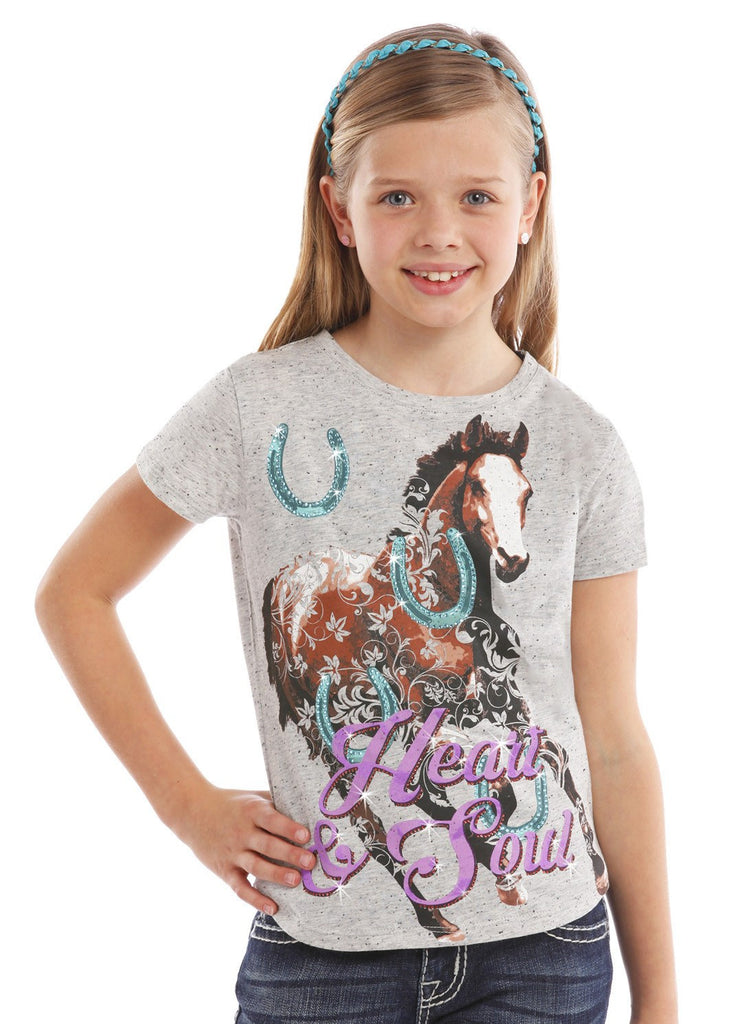 Rock & Roll Cowgirl Girls' Horse Heart and Soul Tee - Saratoga Saddlery