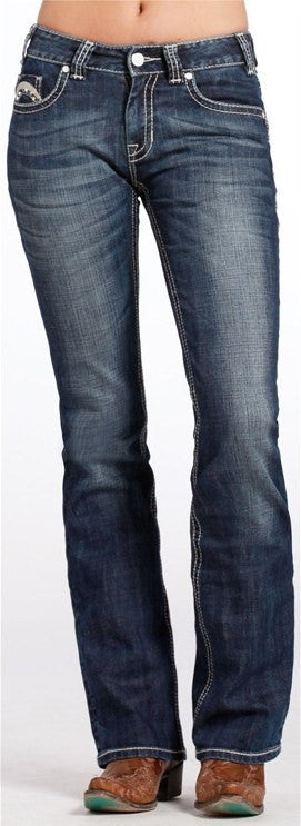 Rock & Roll Cowgirl Mid Rise Boot Cut Jeans - Saratoga Saddlery