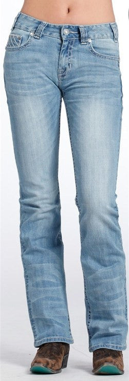 Rock & Roll Cowgirl Mid Rise Boot Cut Jeans W1-6431 - Saratoga Saddlery & International Boutiques