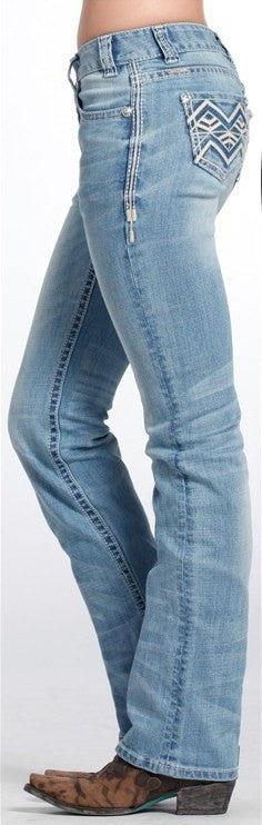 Rock & Roll Cowgirl Mid Rise Boot Cut Jeans W1-6431 - Saratoga Saddlery