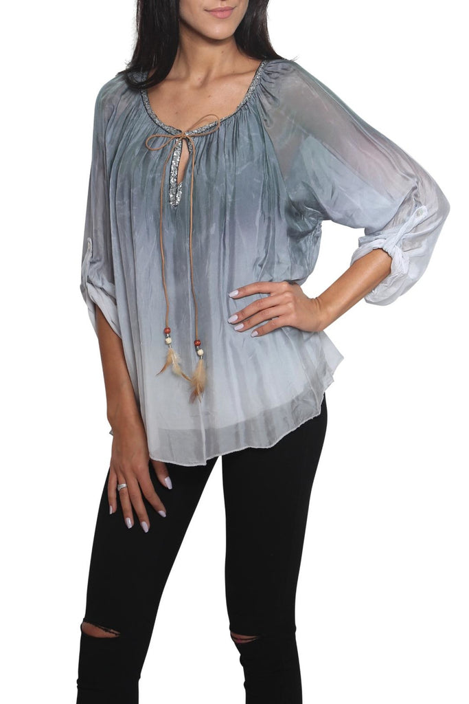 Scandal of Italy ADELE Silk Blouse - Flowing to Blue