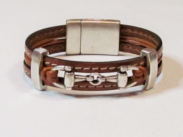 Lilly's Allure Snaffle Bit Leather Bracelet