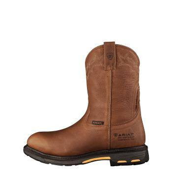 Ariat Workhog Pull-On H2O CT Boots in Golden Grizzly - Saratoga Saddlery