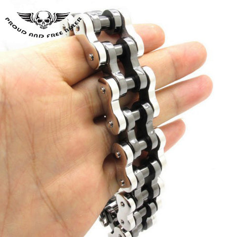 HEAVY CHAIN BRACELET - SILVER & BLACK
